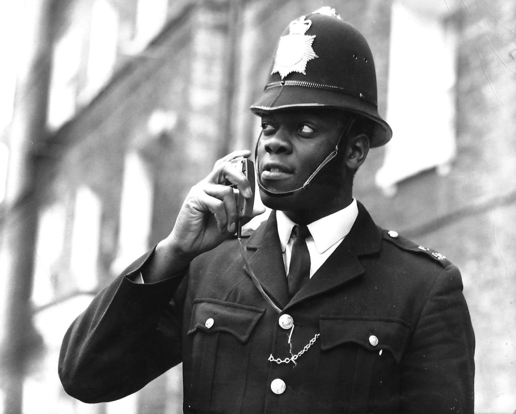 Policeman talking on radio